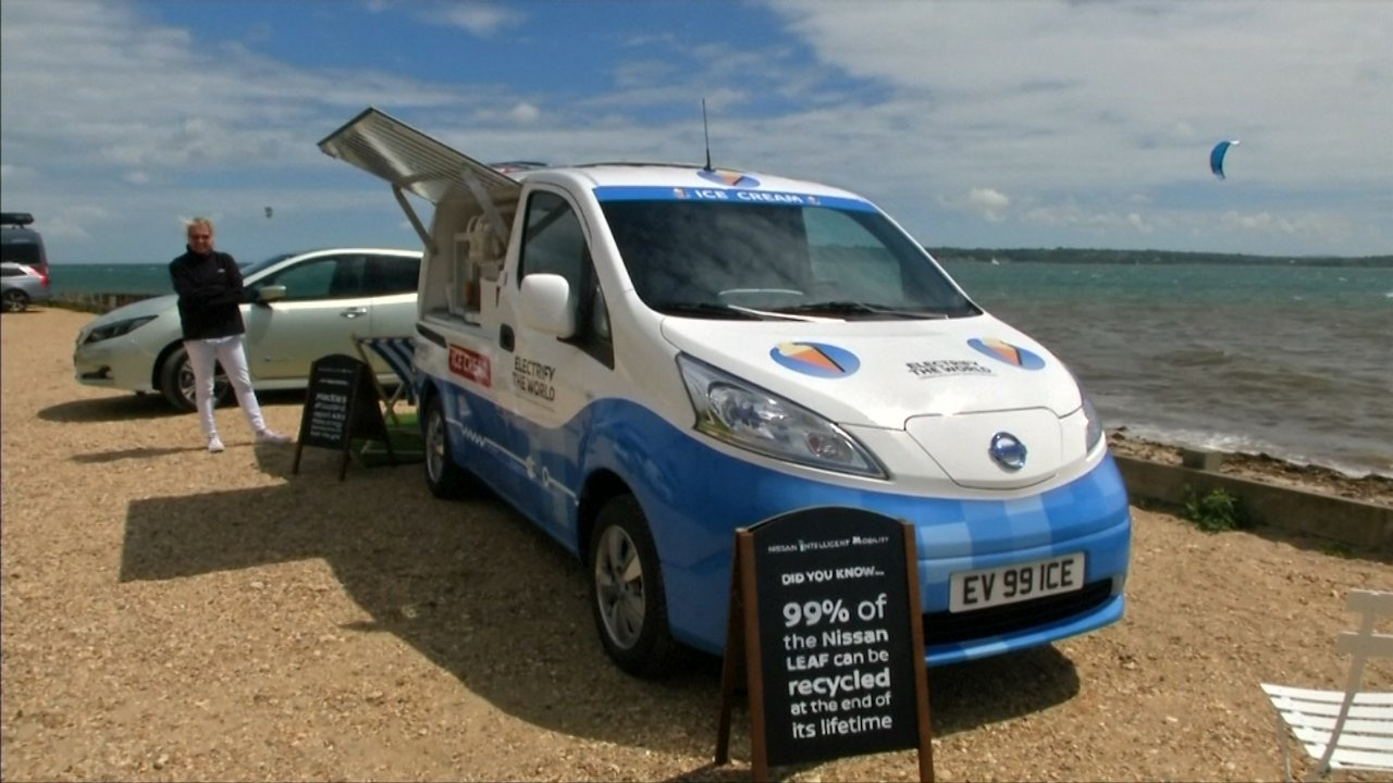 An Electric Ice Cream Truck Runs On Recycled Batteries