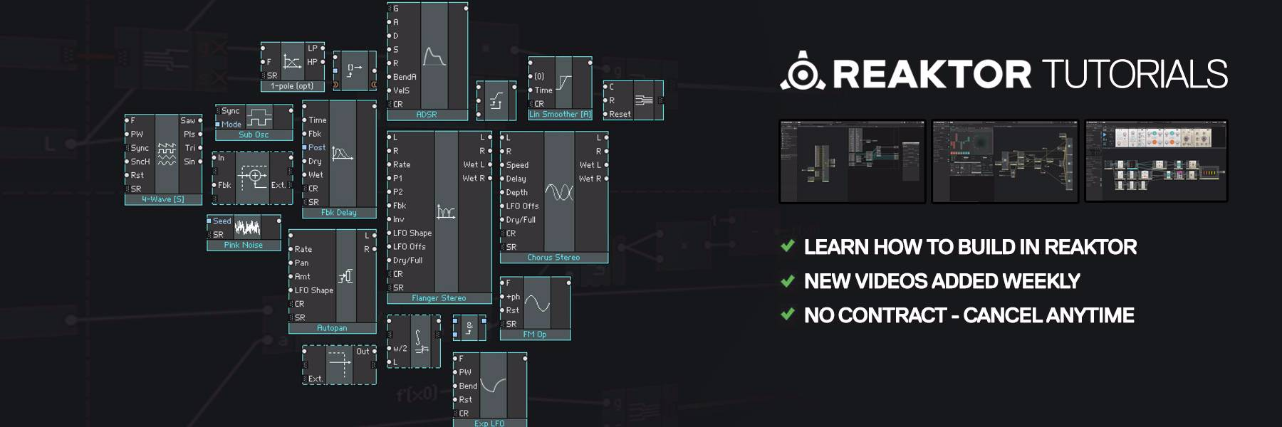 Learn how to build instruments and effects in Reaktor