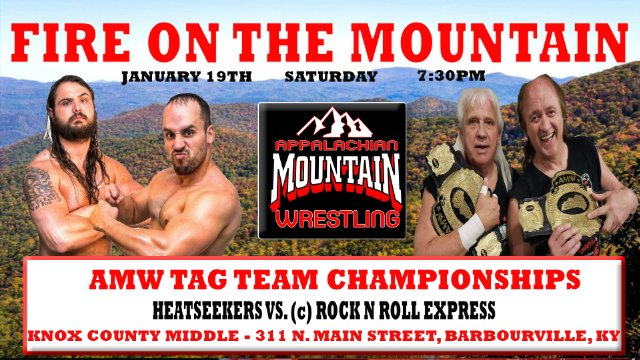 AMW FIRE ON THE MOUNTAIN - AMW TAG TEAM CHAMPIONSHIP MATCH: HEATSEEKERS vs. (c) The Rock N Roll Express