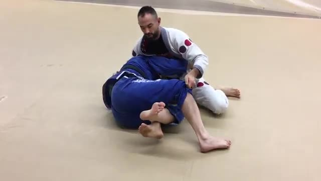 Over Head Pass & Back Take from Top Deep Half Guard