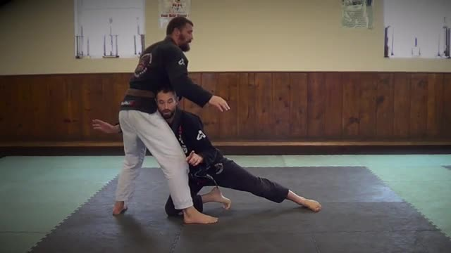 Double Leg Trip from 2 on 1 Snap Down