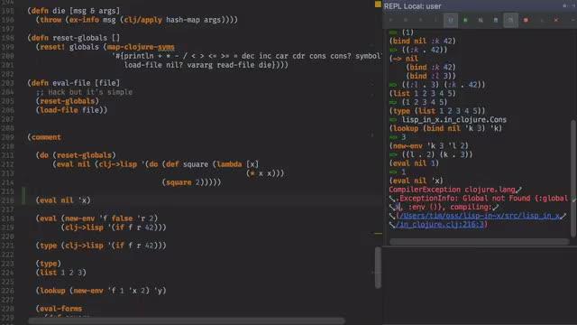 Lisp-in-X - Ep1 - A Lisp in Clojure