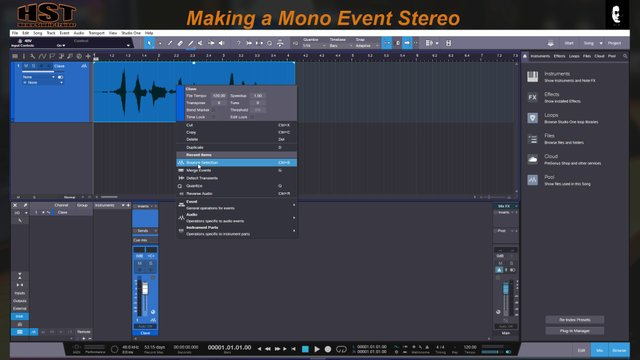 Making a MONO event a Stereo event