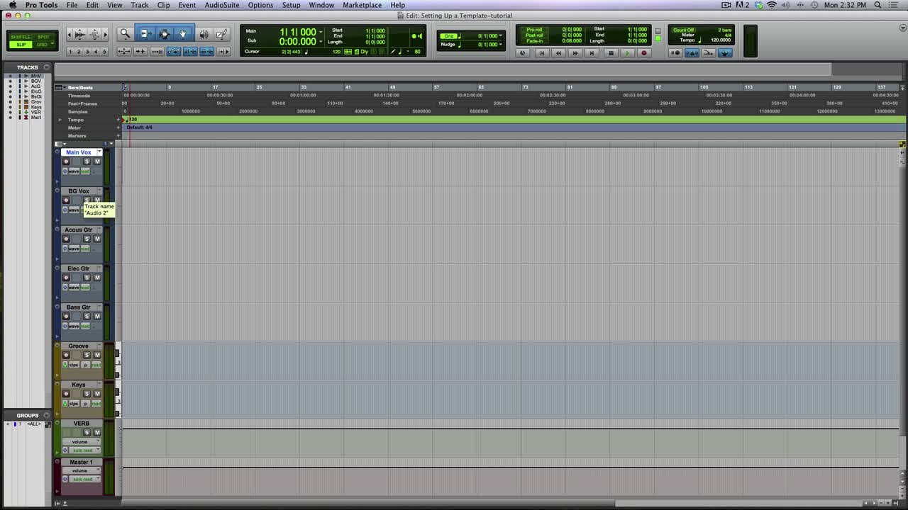 Setting Up Custom Templates In Pro Tools