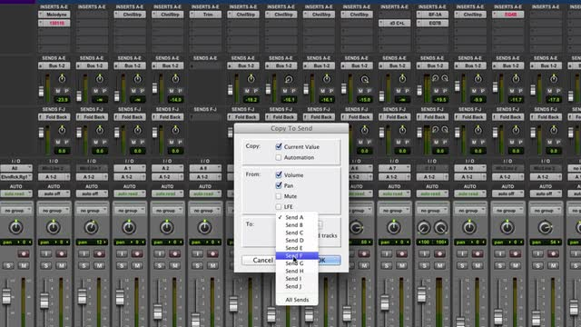 Copy To Send Automation In Pro Tools