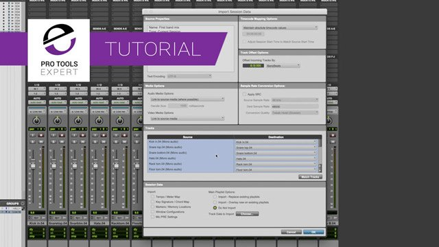 Import Session Data and Match Tracks in Pro Tools