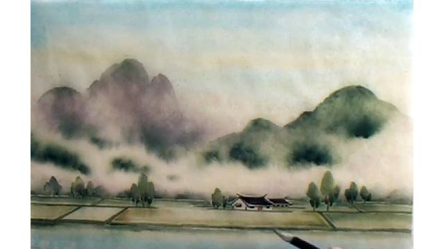 "Landscape: ""Field"" study for Chinese Brush Painting Basics, Lesson #612"