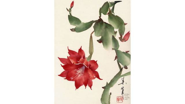 Christmas Cactus from 108 Flowers Book 1: Lesson 8023