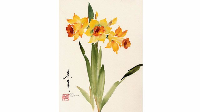 Daffodil from 108 Flowers Book 2: Lesson 8031