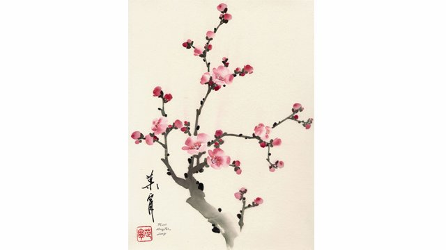 Plum Blossom from 108 Flowers Book 4: Lesson 8084