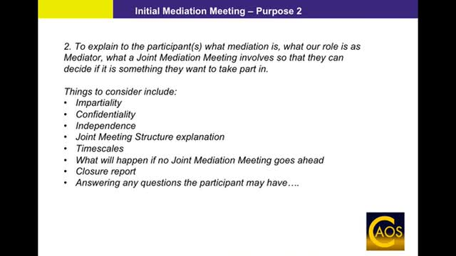 CAOS Mediation - Initial Mediation Meeting support webinar for Mediators