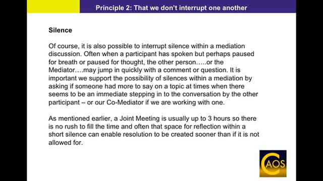 Principle 2: That we don't interrupt one another - CAOS-trained Mediator Support Webinar