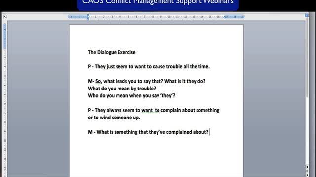 The Dialogue Exercise for CAOS-trained Mediators and Conflict Coaches
