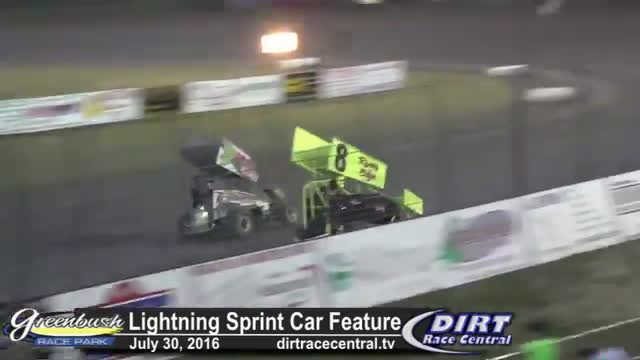 Greenbush Race Park 7/30/16 Lightning Sprint Car Feature Race