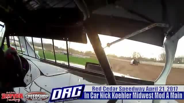 In Car Nick Koehler 4/21/17 Red Cedar Speedway WISSOTA Midwest Mod A Main In Car