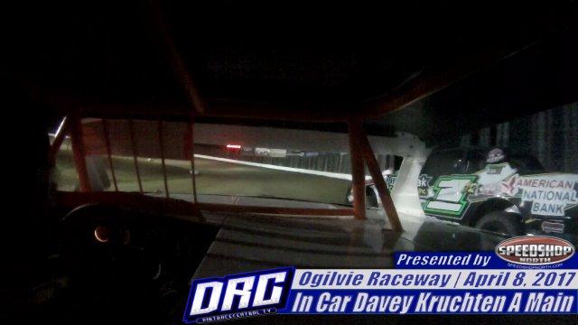 Ogilvie Raceway 4/8/17 In-Car Davey Kruchten WISSOTA Street Stock Heat and Feature