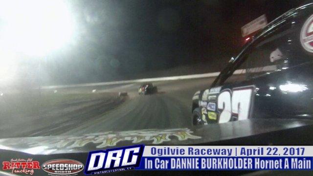 In Car Dannie Burkholder 4/22/17 Ogilvie Raceway WISSOTA Hornet Races