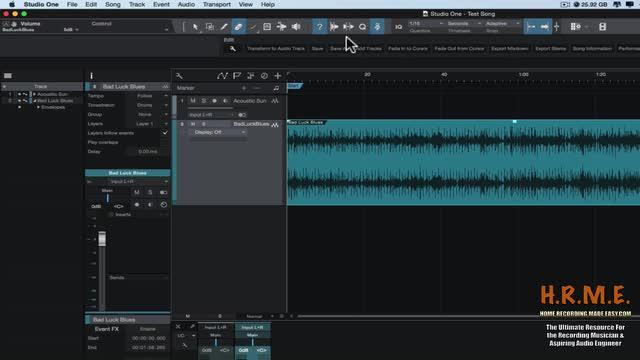Presonus Studio One Version 3 Beginners Guide - The Tool Bar
