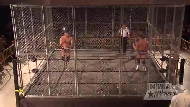 NWA Cajun Heat 1: #07 - Steel Cage Match for NWA Unified Title:  Matt Riviera vs. Jeremy Moore