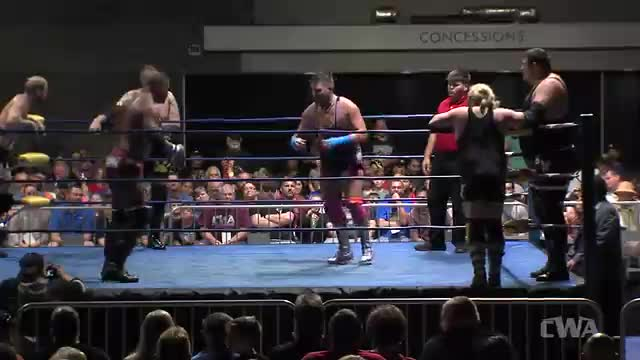 "CWA Wrestle Raise 5: #06 - Tim Storm/Roosevelt/Matt Boyce vs Michael Barry/Greg Anthony/Black Hand Rider w/ ""Superstar"" Bill Dundee"
