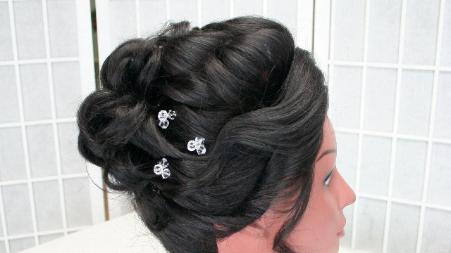 "Bridal hair 101 - Updo (1"" curling iron, no teasing)"