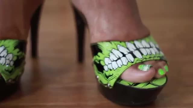 Green Toenails In Iron Fist Heels
