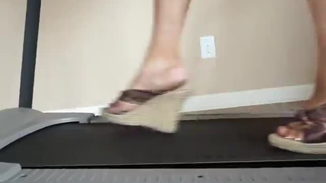 Walking On The Treadmill In Roped Wedges