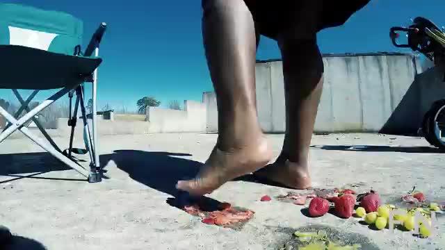 Crushing Fruit Outside