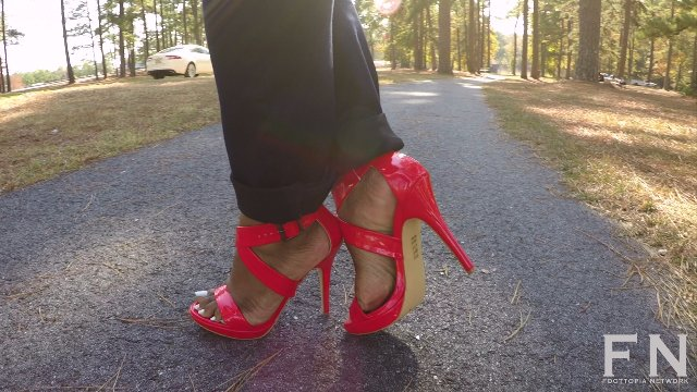 Walking In Sexy Red Heels