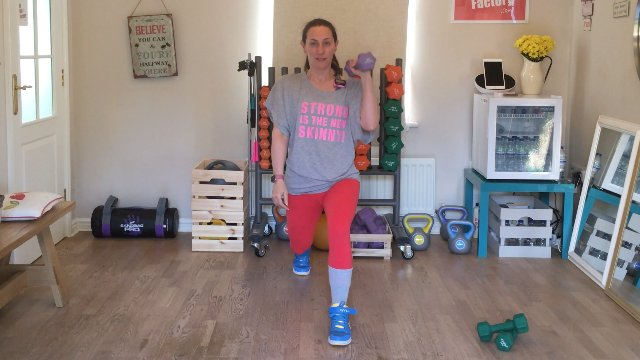008 - Lunge, Pass Through, Curl and Speed Skater with Dumbbell