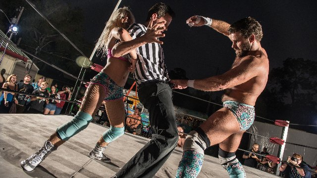 FEST Wrestling Pickle In The Tree Aaron Epic & Martin Stone (#SUBF) vs. Joey Ryan & Candice LeRae (World's Cutest Tag Team)